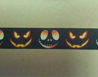 "1"" Pumpkin Face Grosgrain Ribbon Halloween Jack-o-Lantern October Decorations Wrapping Wreaths Bows"