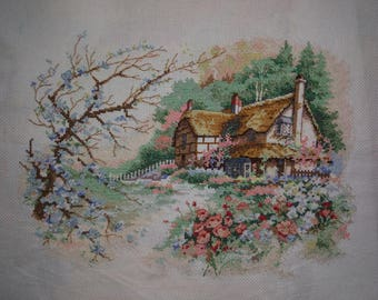 New Finished Completed Cross Stitch - Sunset - L30