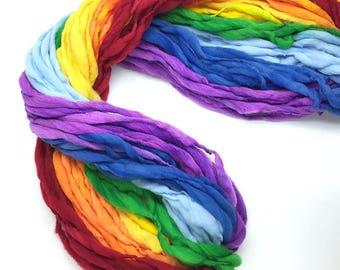Classic rainbow yarn, 65 yards, handspun super bulky in merino wool - 3.85 ounces/ 110 grams
