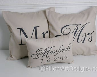 Personalized Mr and Mrs Pillow Covers with Mini Est Date Pillow Beige Black Hand Painted Made in Canada