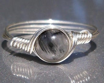 25% Off Sale Tourmalated Quartz Argentium Sterling Silver Wire Wrapped Ring