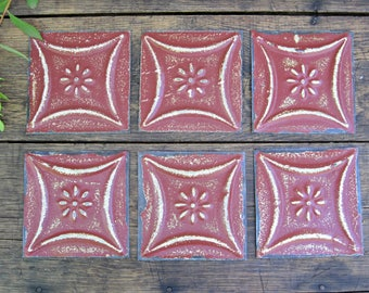 SIX tin ceiling tiles. Lot of 6 old vintage tin tiles. Vintage supplies.  Unframed remnants. Old pressed tin architectural salvage