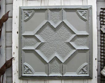 Antique Pressed Tin Panel, Framed Tin Ceiling Tile, Architecture Salvage,  Gray Metal Wall