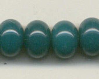 9mm, Tom's lampwork rainforest green 11 spacers bead set 95768