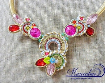 Colorful bib necklace, soutache necklace, boho bib statement necklace, red carpet collier, gift for her, beaded necklace, embroidered neck