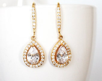 Gold Crystal Bridal earrings, Wedding jewelry Wedding earrings Bridal Earrings, Tear drop with hook - Adeline Earrings