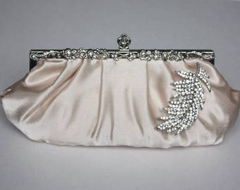 Reserved - Bridal clutch without broach - champagne satin