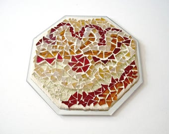 Mosaic Stained Glass, Trivet, Candle Holder, Octagon, Mosaic Mirror, Earth Tones, For The Home, Gift Idea, Wedding, Anniversary - 6.5 Inches