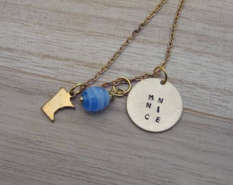 """Minnesota Nice Gold Chain Necklace Blue Charm MN NICE Hand Stamped 21"""" Chain"""