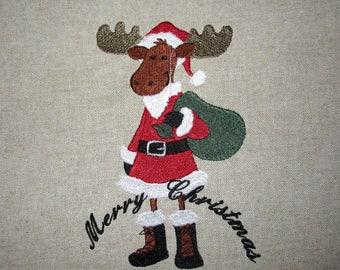Santa Moose Embroidered Quilt Block