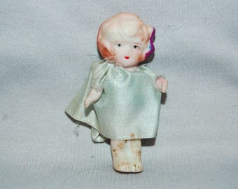 Vintage / Flapper / Bisque / Doll / Dress / Japan / frozen charlotte / penny doll / Vintage Dolls