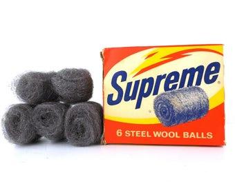 supreme steel wool balls. deadstock vintage. advertising. original package. new in package. kitchen display. cleaning products. vintage prop