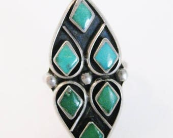 ON SALE Gorgeous Vintage Turquoise Sterling Ring