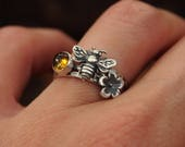 RESERVED Life of the Honeybee Sterling Silver Stacking Rings Bee Ring Citrine Ring Flower Ring Pollen Honey Bumblebee Stacking Ring