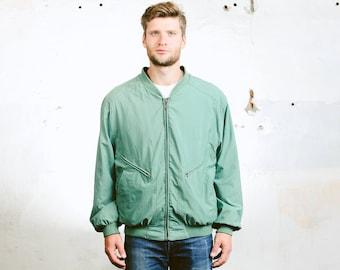 Men's BOMBER Jacket . Vintage 90s Green Aviator Flight Jacket Lightweight Coat 90s Grunge Outerwear . size Large