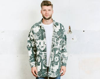 Patterned 90s Shirt . Mens Vintage Green Shirt Minimalist Shirt Oversized Casual Men's 90s Unisex Shirt Boyfriend Gift . size Large