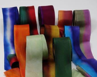 Hanah Silk Ribbon 1.5 inch wide, Wedding Ribbon, Craft Ribbon, Hand Dyed Silk Ribbon