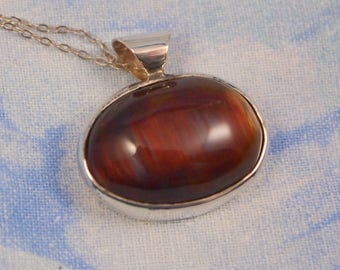 Red Tiger Eye Pendant in Sterling Silver