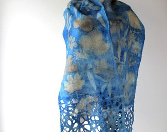 Felted scarf,  Blue grey felt scarf, blue scarf plant print  scarf, blue  wool scarf botanical print scarf women felt shawl by Galafilc