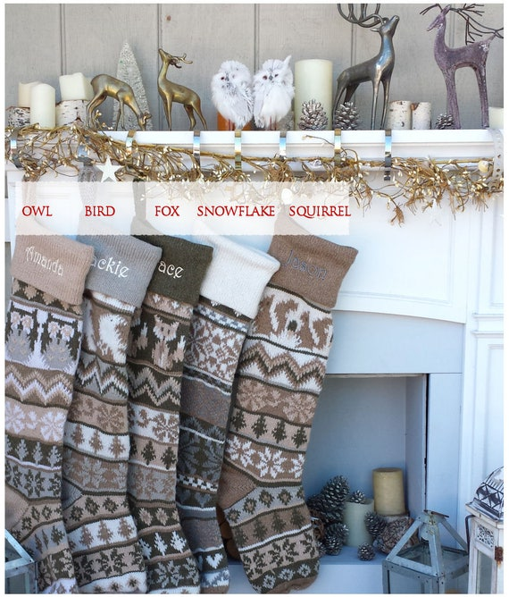 Personalized Knit Christmas Stockings Large 28 Earth