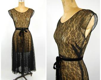 1940s Black Sheer Lace Dress - Full Circle Skirt - Short Sleeved Evening Dress Tea Length Formal - Black Lace Dress // Gothic 40s