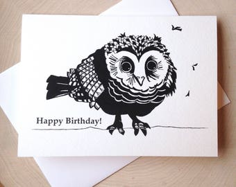 Owl Card, 5 x 7 Black and White Illustrated Blank Card, Baby Owl Card, Owl Birthday Card, Gift for Women, Gift for Her, Owl Lover Gift