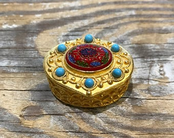 50s Florenza Trinket Ring Pill Box Exquisite Miniature Midcentury Bejeweled Gilt Etruscan Style Treasure Chest Love Token