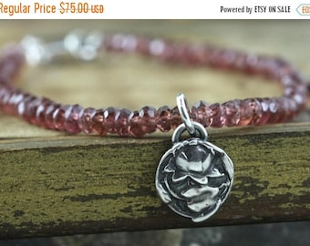 SUMMER SALE Garnet Bracelet, Lotus Jewelry, Sterling Silver, Yoga Jewelry, Buddhist Jewelry, Gift for Buddhist