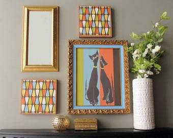 Atomic wall art - Cool Cats Atomic  - a 4 pc wall art collection