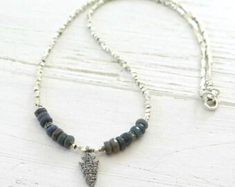 Diamond Opal Necklace, Pendant Necklace, Bohochic Diamond Pave Necklace, Ethiopian Opal Layering Necklace, Hill Tribe Silver, Bohemian, OOAK