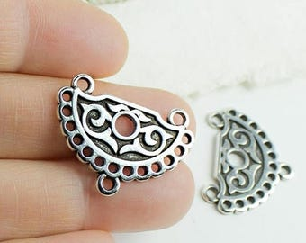 25%OFF Filigree Ethnic Pendant Connector with charm holders boho tribal Necklace Antique Silver Greek pendants metal casting Zamak - 1 pc