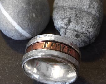 Personalised spinning ring wedding band silver spinning ring name ring wedding date ring