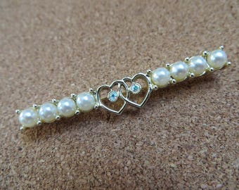 Vintage Waltz Time bar brooch pin with hearts pearls by Sarah Coventry