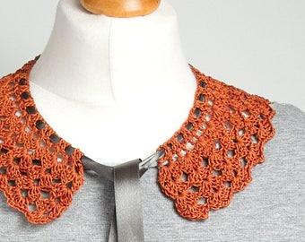 RETRO COLLAR Crochet collar, peter pan collar, rusty collar necklace, retro style, crochet jewelry, crochet necklace, dettachable collar