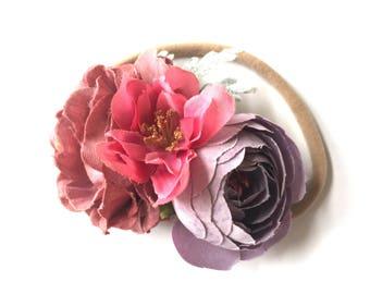 Baby Headband - Flower Headband - Flower Garland - Bouquet - Silk Flower Hair Band - Nylon Headband - Autumn Fall Style - Mauve Plum Pink