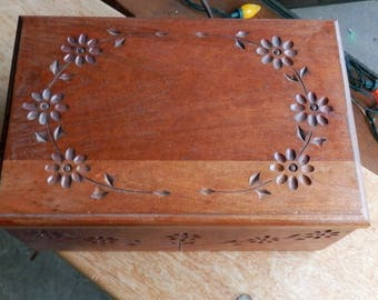 Hand carved solid cherry jewelry or stash box.