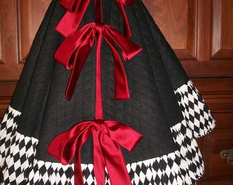 """58"""" Black and White and Black Ribbed with Red Satin Reversible Christmas Tree Skirt  2018 Collection"""