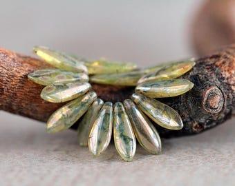 Olive Green dagger beads, Czech glass beads, Long Daggers, 16x5mm, off-center hole beads  (50 pcs) NEW