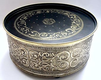 Vintage GuildCraft Tin, Black Gold Tin, Large Round Vintage Tin,GuildCraft Cookie Biscuit Tin, Footed Guildcraft Tin,Ornate Guildcraft Tin,