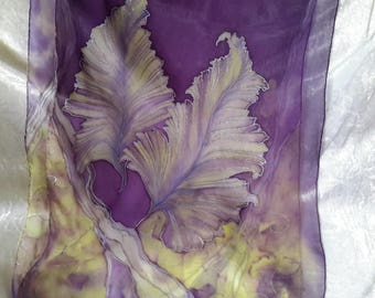 Painted silk chiffon scarf