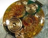 Orgonite Pendant - Fossilized Ammonite, Tiger Eye and Malachite
