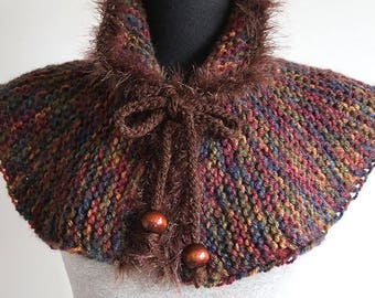 Outlander Inspired Capelet Brown Color Knitted Cowl Mini Poncho Turtleneck Collar with Cord Ties and Wooden Beads