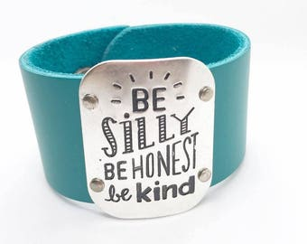 Be Silly Teal Leather Cuff