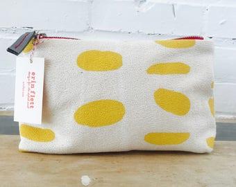 Yellow Peaks Island Make Up zipper bag, Ready To Ship Now