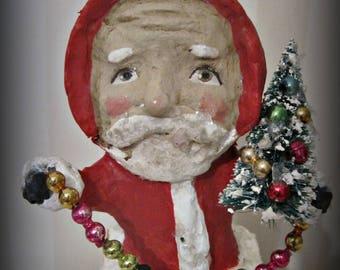 Santa in the chimney - Folk art- paper mache- figurine- folk art doll-hand made doll papier mache