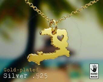 HAITI Map Handmade Personalized Goldplated Sterling Silver .925 Necklace in a gift box