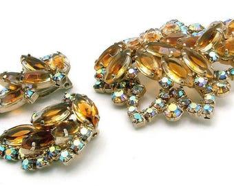 Vintage Brooch Earrings Set Juliana Style Rhinestone Golden Topaz Trimmed In AB Stones