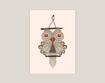 Macrame Owl - Art Print 5x7