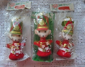 Vintage Christmas Mice Ornaments Set of 3 Unused in Packages Made in Japan Musical Mouse Ornaments