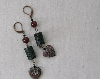 Leopardskin Jasper Hearts Earrings with Lava Tubes on Copper, Red, Orange, Black, Animal Print